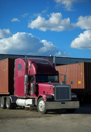 Container Semi Truck at Dock photo