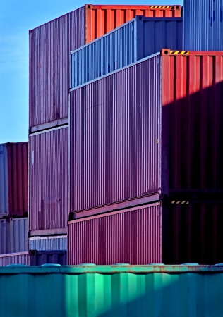 Stacked Shipping Containers at Port photo