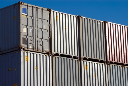 Stacked Shipping Containers at Port Stock Photo