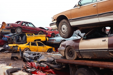 junk: Stacked Scrap Cars to be Recycled Stock Photo