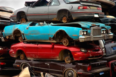 Stacked Scrap Cars to be Recycled Stock Photo - 15931734