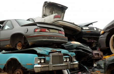 flatten: Scrap Cars to be Recycled Stock Photo