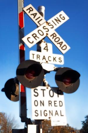 mainline: Railroad Crossing Gate Stock Photo