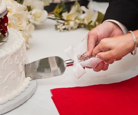 Das Anschneiden der Hochzeitstorte Standard-Bild - 15933614