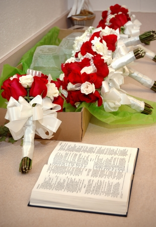 Brides Party Flowers and Bible