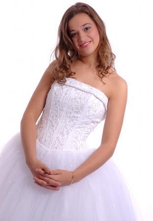 White Prom Dress High Key Studio photo
