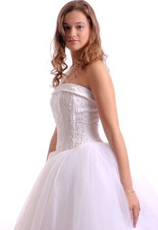 White Prom Dress High Key Studio Stock Photo
