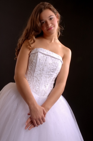 White Prom Dress Black Background Stock Photo