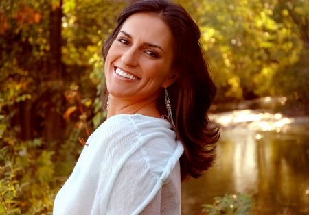Smiling Italian Woman Outdoors Stock fotó