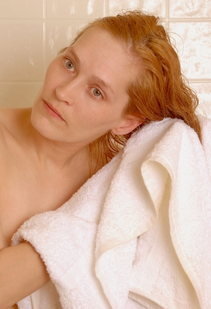 toweling: Woman After Shower Toweling Hair