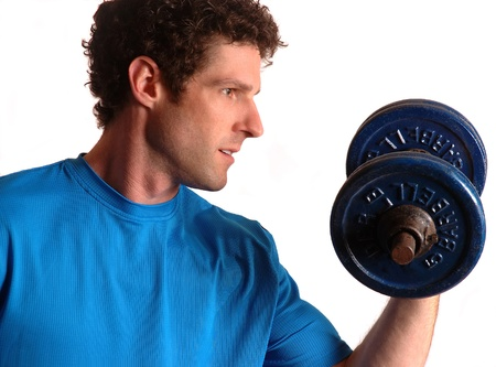 Arms Fit Workout with Dumb Bell Stock Photo