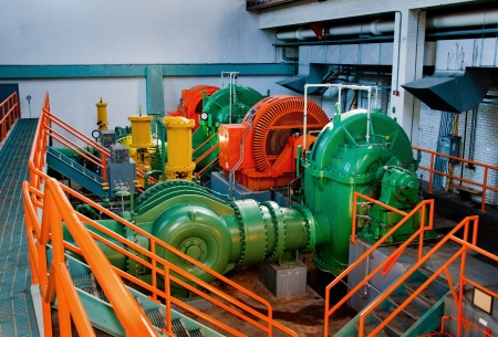 Colorful Machinery in Pump Station Stock Photo
