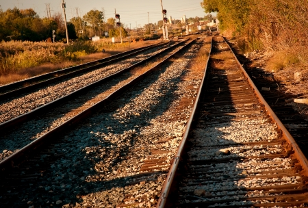 mainline: Mainline Tracks and Siding at Dawn Stock Photo
