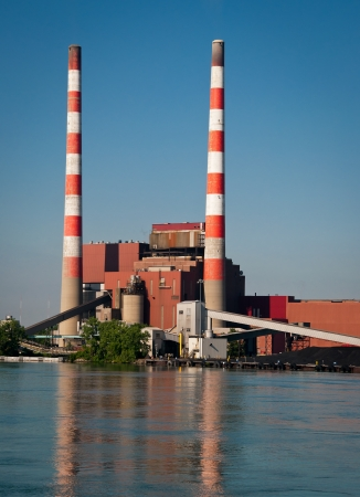 Stacks at Coal Fired Electric Plant photo