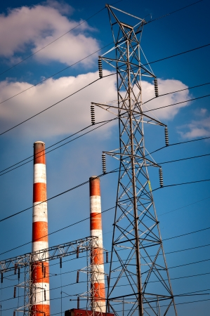 powerplant: Coal Electric Plant and Power Lines Stock Photo