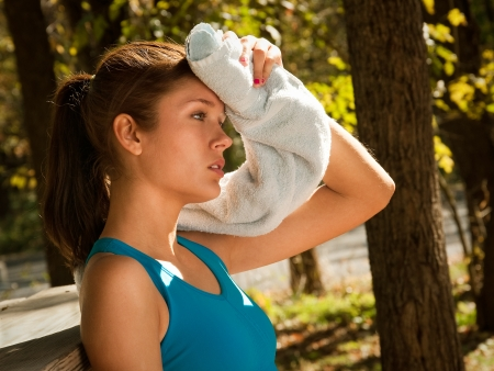 toweling: Toweling after Workout Outdoors Stock Photo
