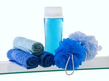 Blue Bath Liquid Soap and Tools
