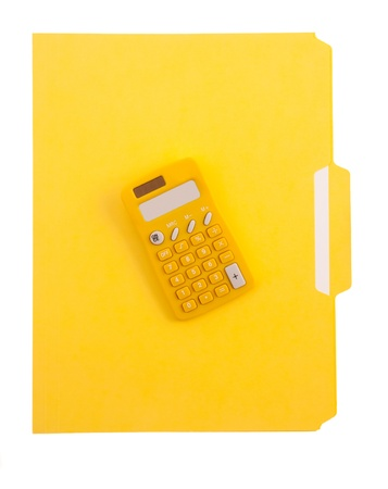 Yellow File Folder and Calculator photo