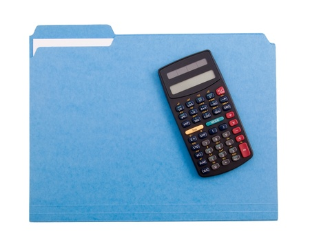 Blue File Folder and Calculator photo