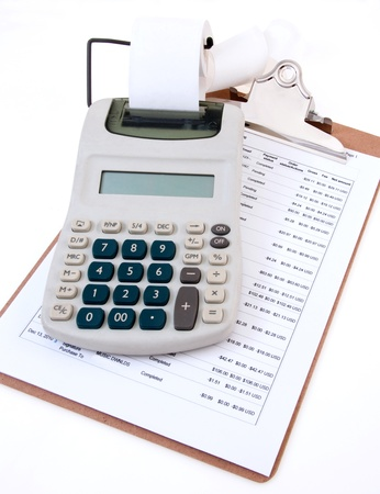 expense: Calculating Expenses Stock Photo