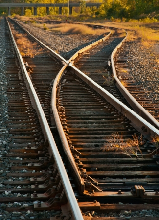 railway transportation: Rail switches in yard off mainline Stock Photo