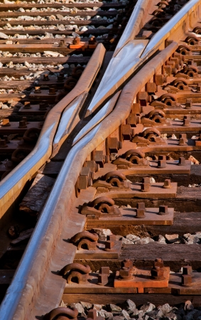 mainline: Rail switches in yard off mainline Stock Photo