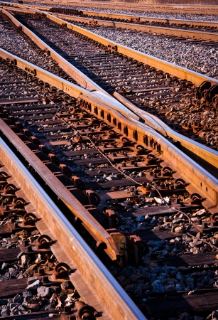 Rail switches in yard off mainline photo