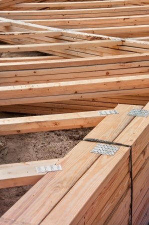 prefabricated house: Pre-fab and cut lumber pile for easy set-up Stock Photo