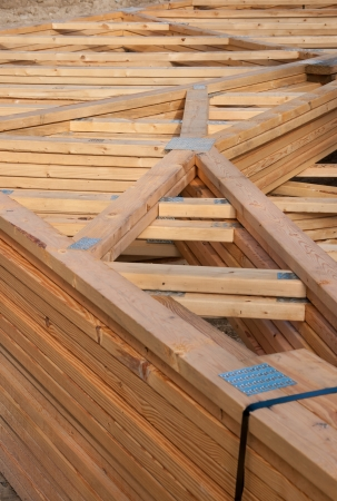 prefab: Pre-fab and cut lumber pile for easy set-up Stock Photo