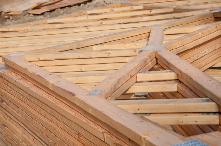morgage: Pre-fab and cut lumber pile for easy set-up Stock Photo