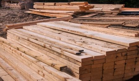 Pre-fab and cut lumber pile for easy set-up Stock Photo