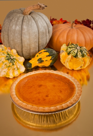Pumpkin pie and gords at harvest time