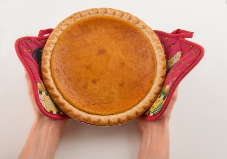 Freshly served Pumpkin pie out of oven Stock Photo