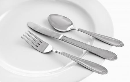 Serviezen en witte bord instelling Stockfoto