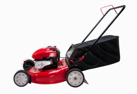 Red Lawn mower on white background Stock Photo