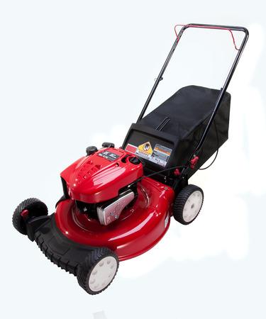 白地に赤の芝刈機