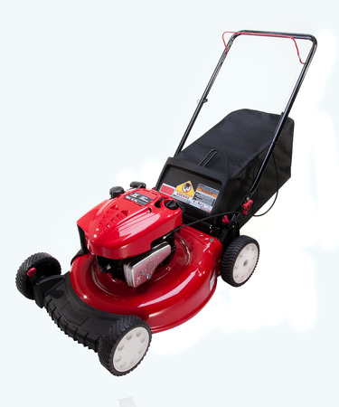 Red Lawn mower on white background Banque d'images