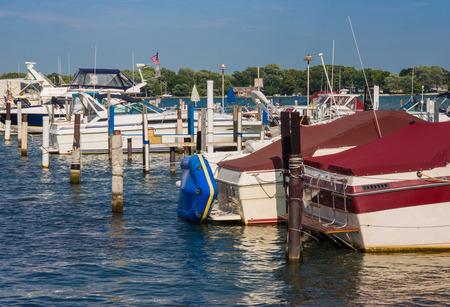 liesure: South Detroit river boat marina near Lake Erie