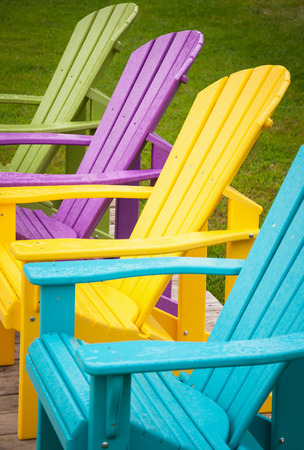 garden furniture: Summer time fancy wood chairs in backyard