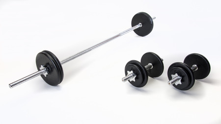 dumb bells: Free weight set with bar and dumb bells