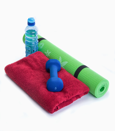 dumb bells: Workout tools for healthy lifestyle results Stock Photo