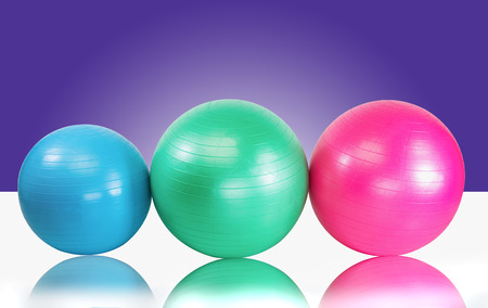 health club: Group fitness balls for health club workout