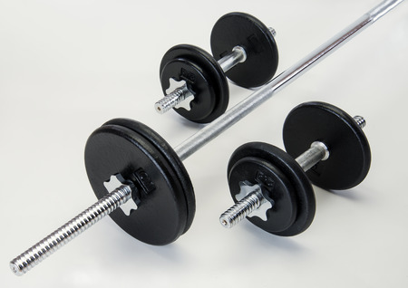 free weights: Iron and steel free weights set for fitness