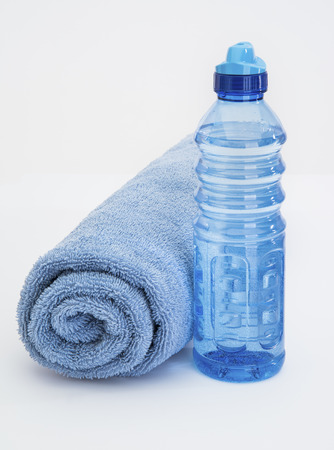 water aerobics: Blue Water Bottle and Towel for sweat wipe