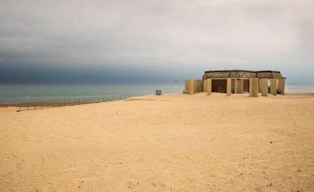 Storm clouds over lake Michigan beach Banco de Imagens
