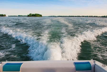 南デトロイト川の喜びボート 写真素材