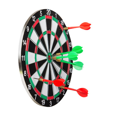 loser: Dart board with the winner and the loser darts