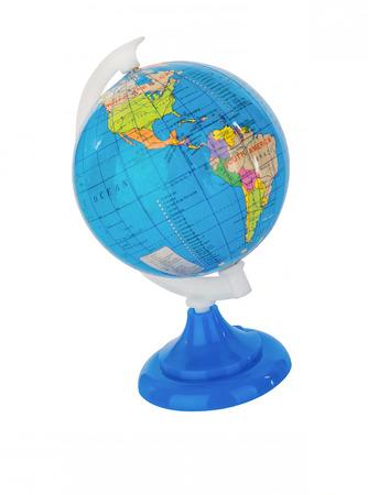 tabletop: Mini world globe on a white table-top Stock Photo