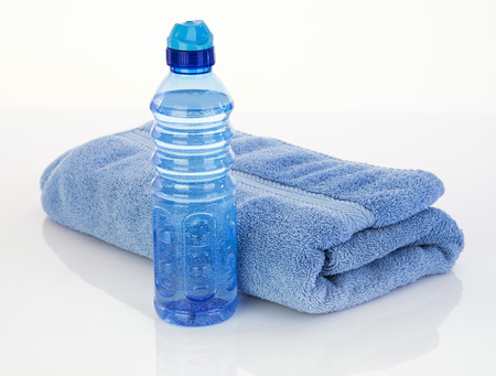 water aerobics: Blue color for male fitness tools to hydrate Stock Photo