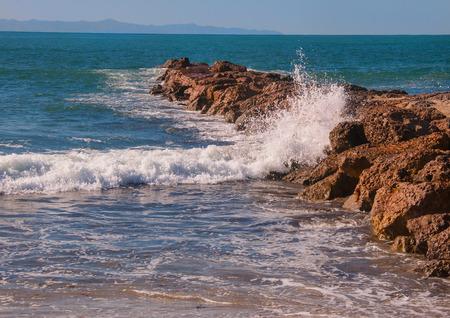 shorelines: Pacific ocean rocky shoreline at california beach